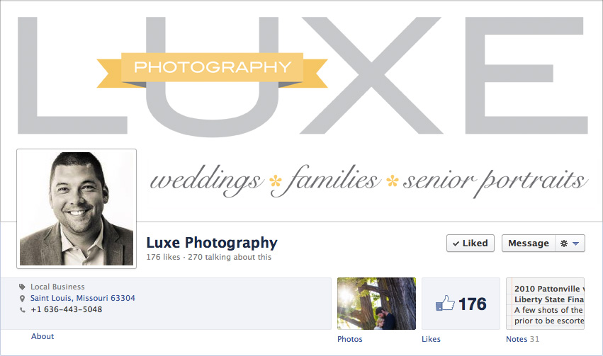 Facebook business page of Luxe Photography, redesign by Tippi Thole of Bright Spot Studio