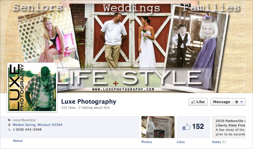Facebook business page of Luxe Photography by Brian Sirimaturos
