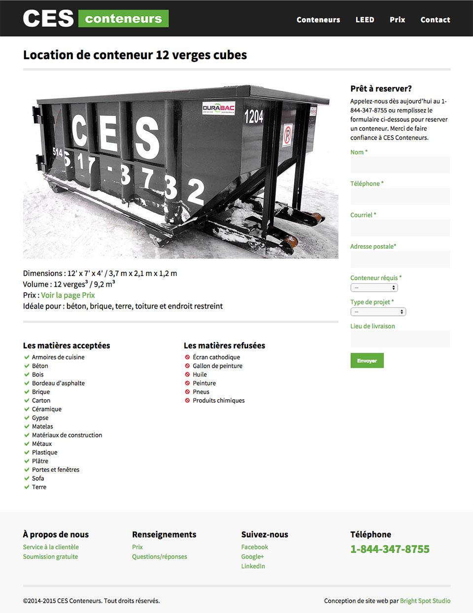 CES Conteneurs website redesign by Bright Spot Studio