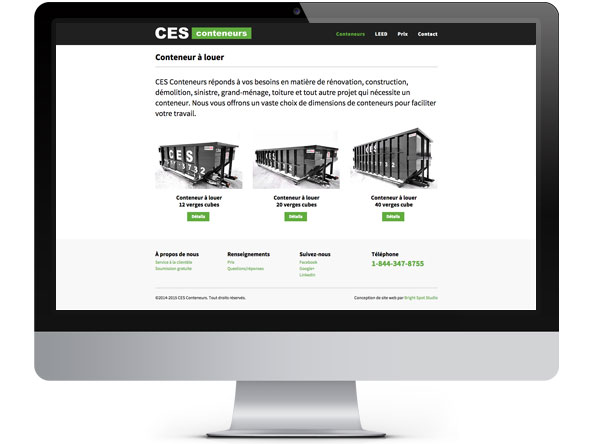CES Conteneurs website redesign by Bright Spot Studio